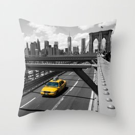 Yellow Cab on Brooklyn Bridge Throw Pillow