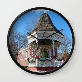Gazebo & Courthouse Dressed for the Holidays Wall Clock