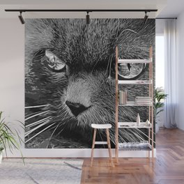 persian cat great eyes evil look vector art black white Wall Mural