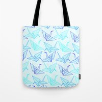 origami Tote Bags featuring Origami by StudioBlueRoom
