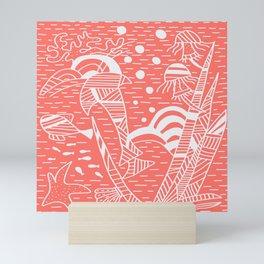 Living Coral Sea Life Stripes Mini Art Print