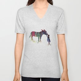 donkey and child art Unisex V-Neck