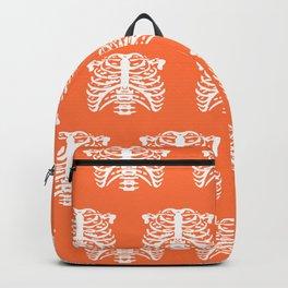 Human Rib Cage Pattern Orange Backpack