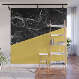 Black Marble and Primrose Yellow Color Wall Mural
