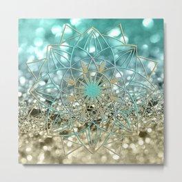 Star Mandala on Lemon Twist Beach Glitter #4 #shiny #decor #art #society6 Metal Print