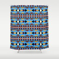 navajo Shower Curtains featuring Navajo Blue Pattern Art by Christina Rollo