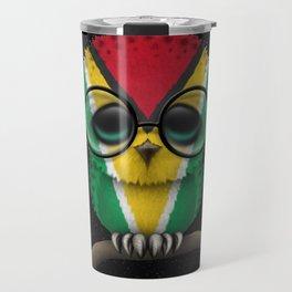 Baby Owl with Glasses and Guyanese Flag Travel Mug