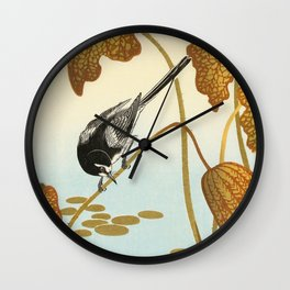 Bird sitting on a lotus plant - Vintage Japanese Woodblock Print Art Wall Clock