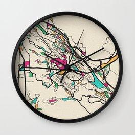 Colorful City Maps: Haifa, Israel Wall Clock