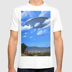 UFO LARGE White Mens Fitted Tee