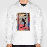 volleyball Hoodies featuring Volleyball Girl by beeczarcardsandgifts