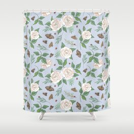 Roses, Moths and Ladybirds Shower Curtain
