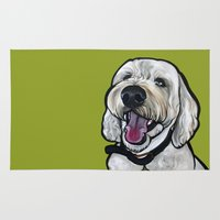kermit Area & Throw Rugs featuring Kermit the labradoodle by Pawblo Picasso