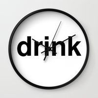 drink Wall Clocks featuring drink by linguistic94