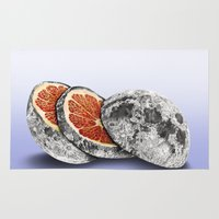 astronomy Area & Throw Rugs featuring In which there is a mandarin in the moon by J.P Ormiston