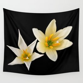 White flowers with black Wall Tapestry