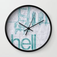 hell Wall Clocks featuring hell by Josh LaFayette