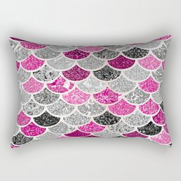Pink, Silver and Cranberry Mermaid Scales Pattern Rectangular Pillow