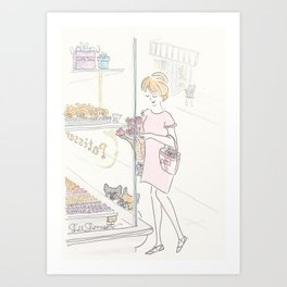French Bulldogs and Paris Patisserie Art Print