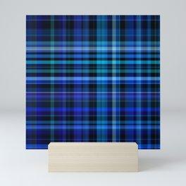 blue tartan plaid pattern Mini Art Print
