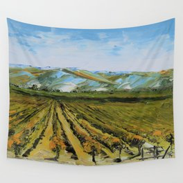Colors of Napa Valley ll by Lisa Elley, Palette Knife Painting in oil. Wall Tapestry