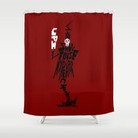 soul eater Shower Curtains featuring lord death soul eater by Rebecca McGoran