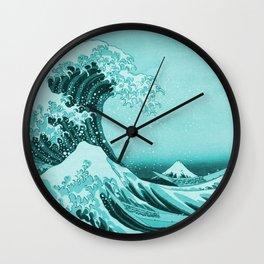 Aqua Blue Japanese Great Wave off Kanagawa by Hokusai Wall Clock