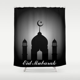 Mosque dome and minaret silhouette with Eid Mubarak Shower Curtain