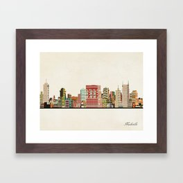 nashville tennessee skyline Framed Art Print