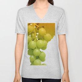 Green vine grapes on white Unisex V-Neck