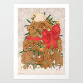 Merry Christmas from Gingerbread Men Art Print
