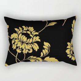 Victorian Floral (Black & Gold) Rectangular Pillow
