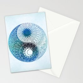 moon and sung (blue) Stationery Cards