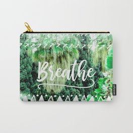 Modern typography breathe green tropical palm tree forest photography white boho geometric Carry-All Pouch