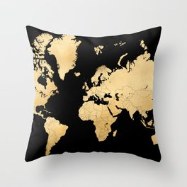 Sleek black and gold world map Throw Pillow