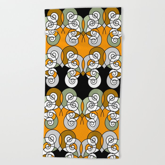 Abstraction . Yellow black spiral. Beach Towel