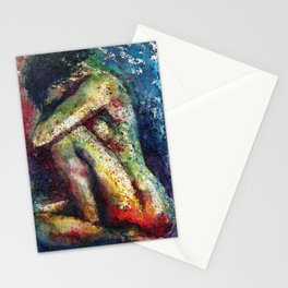 Nude abstract watercolor print Stationery Cards