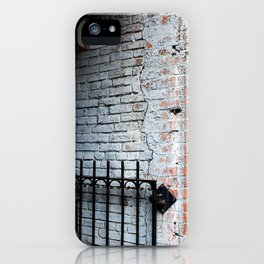 White Brick Wall and Metal Fence iPhone Case
