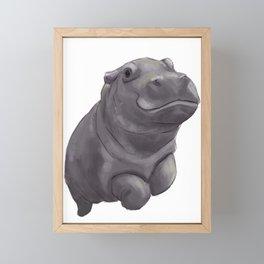 Baby Swimming Hippo Framed Mini Art Print