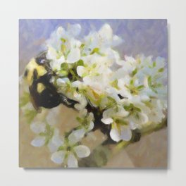 Bee On White Flowers Metal Print