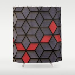 Grey Black Red Cubes Shower Curtain