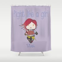 borderlands Shower Curtains featuring Fight Like a Girl | Lilith - Borderlands by ~ isa ~