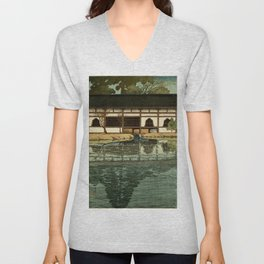 Ukiyo-e, Hasui Kawase, Part of the Byôdô-in Temple at Uji Unisex V-Neck
