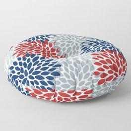 Floral Dahlia Print, Red, Navy, Blue, Gray Floor Pillow
