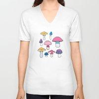 mushroom V-neck T-shirts featuring Mushroom by Elyse Beisser
