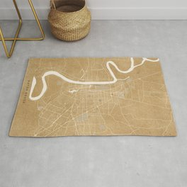 Vintage map of Baton Rouge Louisiana in sepia Rug