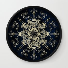 Pale Gold Floral Design On A Blue Textured Background Wall Clock