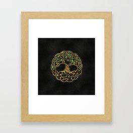 Tree of life  -Yggdrasil - Gold & Green  foil Framed Art Print