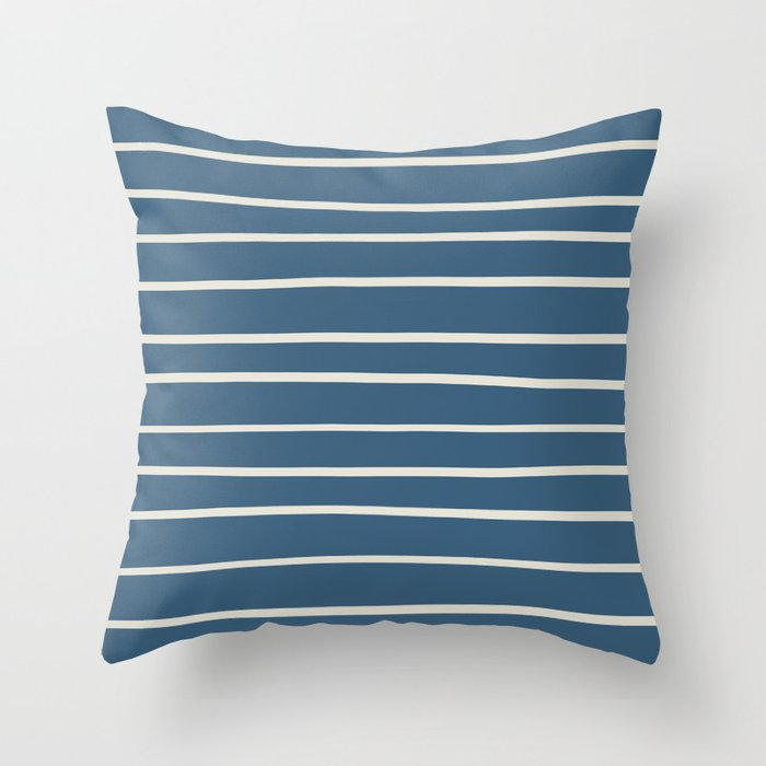 Linen White Thin Hand Drawn Line Pattern on Blue Pairs To 2020 Color of the Year Chinese Porcelain Throw Pillow