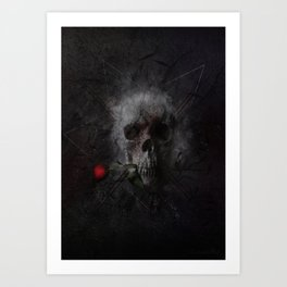 Skull with Rose Art Print